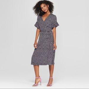 Who What Wear Polka Dot Wrap Dress NWT